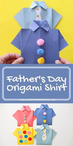 Creative Birthday Cards, Dad Birthday Card, Handmade Birthday Cards, Origami Birthday Card, Birthday Presents, Origami Shirt, Instruções Origami, Cool Paper Crafts, Paper Crafts Origami