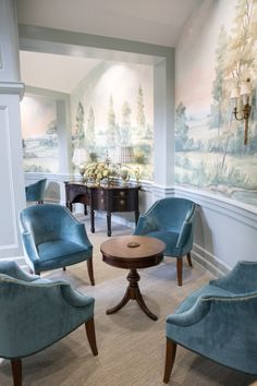 Bespoke mural wallpaper inspired by the English countryside. Hand-painted murals by Susan Harter are Living Room Murals, Living Room Decor, Luxury Home Decor, Luxury Homes, Living Room Designs, Living Spaces, Living Area, Elegant Dining Room, White Rooms