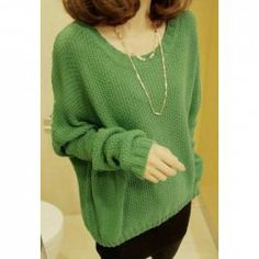 Simple Design Scoop Neck Plus Size Long Sleeves Column Cotton Yarn Sweater For Women