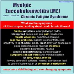Myalgic Encephalomyelitis (ME) is characterized by many everchanging symptoms - the main symptom is getting worse after (often minimal) physical or cognitive activity.