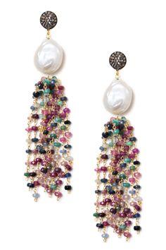 Multicolor Sapphire, Pearl & Champagne Diamond Tassel Earrings - 4.00 ctw