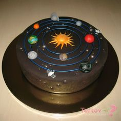 Science party cale solar system New Ideas Bithday Cake, 4th Birthday Cakes, Solar System Cake, Planet Cake, Solar System Projects, Galaxy Cake, Cakes For Boys, Fondant Cakes, Themed Cakes