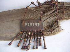 Long Copper Necklace with Textured Fringed Pendant by annamei, $83.00