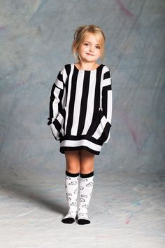 Super stylish girls monochrome dress by another of the scandi kids brands Koolabah. Teamed with funky popcorns socks, what's not to love! Kids Branding, Super Cute Dresses, Unique Baby, Tight Leggings, Stylish Girl, Kind Mode, Striped Dress, Kids Fashion, Girls Dresses