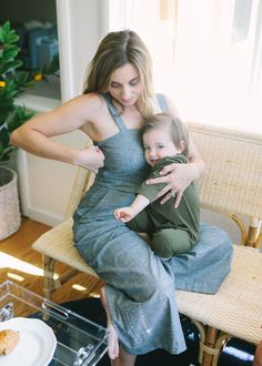 Chambray jumpsuit made for nursing and pumping moms. Super cute design for moms who want nursingwear that look like normal, chic clothes. Breastfeeding Dress, Breastfeeding And Pumping, Chambray Jumpsuit, Jeans Jumpsuit, Nursing Wear, New Wardrobe, Cute Designs, Stylish Outfits, Mom Jeans
