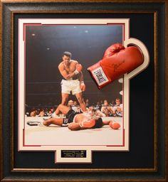 7c05a55a6a6 Muhammad Ali Signed Boxing Gloves Collage Display.