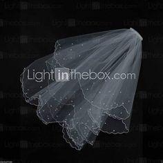 Bridal Wedding Veil Two-tier White or ivory Elbow Veils Pearl Trim Edge 4286089…