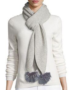 Neiman Marcus Fox-Fur Muffler Scarf w/Pom Pom Trim, Black/Gray, Women's, Grey