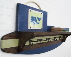 Surfboard Shelf Coat Rack 4 Foot in Navy, Dark Stain and Celery Green.