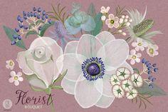 Watercolor florist bouquet anemone by GrafikBoutique on Creative Market