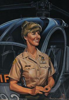 Deputy Julie Cabe. In 1981, she became the first female law enforcement pilot. Artist: M. J Rodriguez