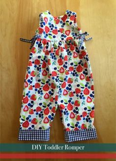There are a ton of different dress patterns available for baby girls, but not a whole lot of variety otherwise. I bought this baby girl romper pattern a few years ago knowing I would want to make i… Romper Pattern, Jumpsuit Pattern, Toddler Outfits, Kids Outfits, Baby Outfits, Baby Patterns, Dress Patterns, Toddler Jumpsuit, Gingham Fabric