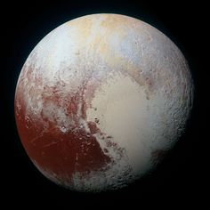 NASA's New Horizons spacecraft captured this high-resolution enhanced color view of Pluto on July 14, 2015. The image combines blue, red and infrared images. Pluto's surface sports a remarkable range of subtle colors, enhanced in this view to a rainbow of pale blues, yellows, oranges, and deep reds. Many landforms have their own distinct colors, telling a complex geological and climatological story that scientists have only just begun to decode.
