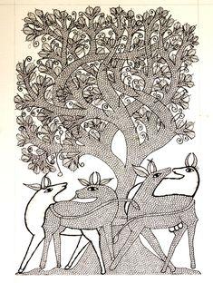 Gond Art from Madhya Pradesh by The India Craft House Art Painting, Ink Art, Gond Painting, Tribal Art, Madhubani Art, Indian Folk Art, Art, Handcrafted Art, Folk Art Painting