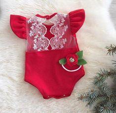 Kryssi Kouture Baby Girls Red Ruffled Sleeve Lace Winter Romper