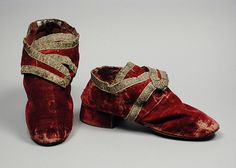 Pair of Man's Shoes Italy, circa 1730 Costumes; Accessories Silk velvet with metallic braid, leather Costume Council Fund (M.81.195.4a-b)   LACMA Collections