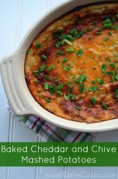 Baked Cheddar and Chive Mashed Potatoes