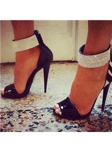 Gorgeous Rhinestone Ankle Wrap Dress Sandals