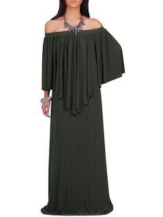 Trendy Asymmetrical Off Shoulder Overlay Pleated Maxi Dress