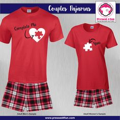 Valentine's Day Couples Pajamas - Boxers | You Complete Me Design | Pressed 4 Fun | Valentine's Day Gifts