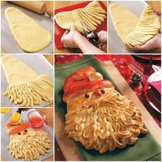 Golden Delicious Santa Bread! Ingredients: 4 to 4-1/2 cups bread flour 1/2 cup sugar 2 packages (1/4 ounce each) active dry yeast 1-1/2 teaspoons salt 1/2 cup milk 1/4 cup water 1/4 cup butter, cubed 2 eggs 2 raisins 2 egg yolks 2 to 3 drops red food coloring **Quick Tip: Instead of stirring up homemade dough, start with 2 loaves of purchased frozen bread dough. Take a small portion of one loaf and add it to the other loaf