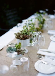 burlap table runner, succulents for centerpieces... i imagine the rest of the space filled with mason jars (candles). This is what i want!!!
