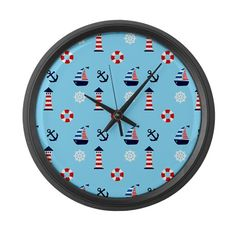 Of Lighthouses & Sailing Large Wall Clock