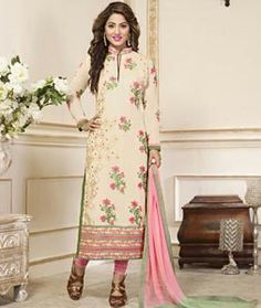 469295d156c038 Buy Hina Khan Beige Faux Georgette Straight Cut Suit 76155 online at lowest  price from huge