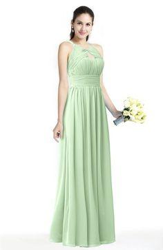 Traditional Sleeveless Zip up Chiffon Floor Length Bridesmaid Dresses