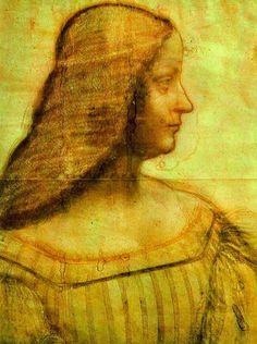Isabella d'Este (Leonardo da Vinci, 1519) | Marchioness/Marchesa of Mantua, Isabella d'Este, portrait in profile, turned to the right, 1519. Black and red chalk, 63x 46 cm MI 753 recto | Louvre, Dpt.des Arts Graphiques, Paris, France