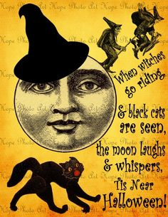 Halloween Moon Witches of the Night  Image Transfer - Burlap Feed Sacks Canvas Pillows Towels greeting cards - U Print JPG 300dpi sh231