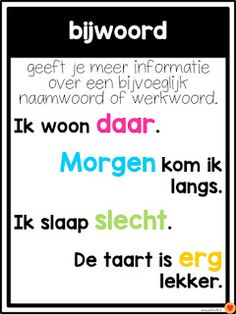 Juf-Stuff: Posters word types - Back to School School Hacks, Learning Quotes, Fun Learning, Learn Dutch, School Posters, Kids And Parenting, Grammar, Back To School, Holland