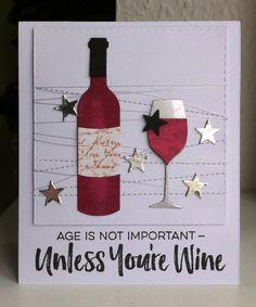 Card bottle glass glasses wine drink MFT Wine service Die-namics, MFT Uncorked stamp set #mftstamps stars from MFT Tagbuilder 1 - JKE