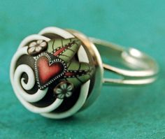 Polymer Clay Chocolate Bonbon Dimensional Domed Ring - Swirly by etsy artist ikandiclay