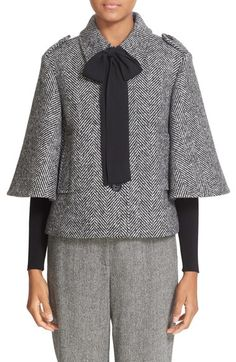 RED Valentino Bow Detail Tweed Jacket available at #Nordstrom