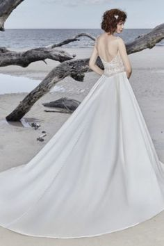 Saylor by Sottero & Midgley Wedding Dresses. Beautiful beaded bodice bridal gown with full satin skirt. Collection starts at $1,200 & up. Make an appointment at Precious Memories in Boston, Ma. 781-397-1336. Wedding Dress Finder, Sheath Wedding Gown, Wedding Dress Styles, Designer Wedding Dresses, Sottero And Midgley Wedding Dresses, Sottero Midgley, A Line Bridal Gowns, Bridal Dresses, Crystal Dress