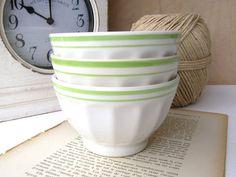Three French Creamy White Cafe au Lait Bowls, Trio Faceted Vintage Cafe au Lait Bowls, Ceramic Vintage Bowls, French Bowls Cafe au Lait on Etsy, Sold