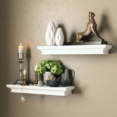 Set of 2 Traditional Wall Floading Shelf Mantle White for Home and Office Decorative Molding Style for Storage Display Ledge Concealed Mount Bracket Buyer Receives 2 Shelves *** Find out more about the great product at the image link. (This is an affiliate link and I receive a commission for the sales)