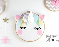 40% OFF Unicorn Nursery Art Pattern, Unicorn Sewing Pattern, Unicorn Taxidermy, Sleepy Eyes, Felt Pattern, Unicorn Decor, Unicorn Art