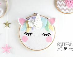 Unicorn Nursery Art Pattern - Unicorn Sewing Pattern - Scandinavian Nursery Decor - Sleepy Eyes - Felt Pattern - Unicorn Decor - Unicorn Art