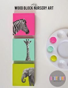 DIY Painted Wood Block Nursery Art DIY nursery art: Find great images and modge podge on brightly colored blocks for a fun punch of color to your room Diy Wand, Diy Nursery Decor, Nursery Art, Wall Decor, Wood Nursery, Bedroom Crafts, Nursery Prints, Diy Painting, Painting On Wood