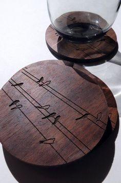Coasters Engraved Wood Coasters Birds on Wire