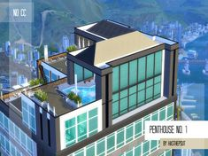 Bored with ordinary, ground-level hosues? Consider living in this sleek and stylish penthouse among the clouds! Huge windows and open-living plan create a perfect spacious flat for every looking. Lotes The Sims 4, Sims Cc, The Sims 4 Houses, Nice Houses, Sims 4 Penthouse, Sims 4 City Living, Sims Free Play, Sims House Design, Sims Building