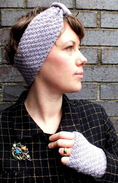 Free Knitting Pattern for Hopscotch Headband and Mitts - Great for beginners! This retro styled headband is knitted flat, seamed, and finished with an additional piece for the tie. The mitts are also knit flat and seamed. The textured fabric is created using only knit and purl stitches, and it's ideal for a beginner knitter according to the designer Jo Hazell-Watkins.