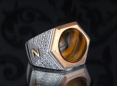 Personalized Silver Men Ring With Individual 10k GOLD Initials (all sizes) #istanbul_Jewelry #Statement