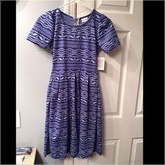 {Lularoe} Amelia NWT! Brand new with tags! Blue Aztec design. Size XS. LuLaRoe Dresses