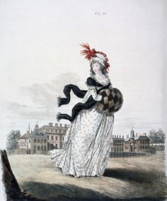 Morning Dress, fig. 91 from 'The Gallery of Fashion', 1797 (coloured engraving) Artist: Heideloff, Nicolaus von