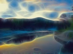 River of Dreams and Wishes, by Wendy J. St. Christopher - Art166 - Dreamy, abstracted landscape, from my original photograph taken in the Texas Hill Country.