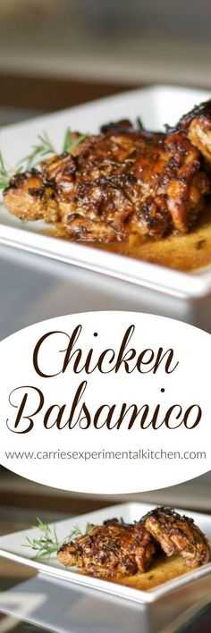 Your family is going to love Chicken Balsamico made with bone-in chicken thighs cooked in a balsamic white wine sauce with fresh chopped rosemary. #chicken #chickenrecipes #balsamic #chickenthighs