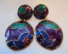 Vintage Earrings Signed BEREBI Green/Purple/Blue Enamel Dangle Pierced Designer! #Berebi #DropDangle